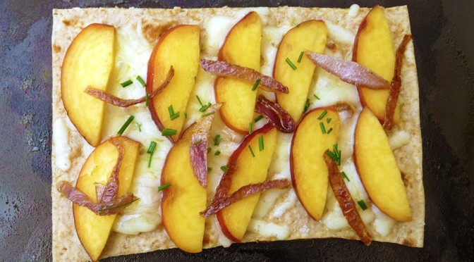 Cheddar Peach Quesadillas