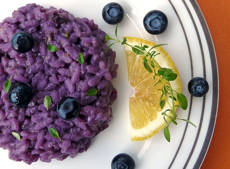Blueberry Risotto with Thyme and Asiago